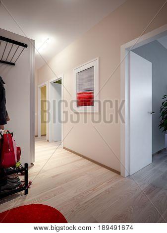 Modern Urban Contemporary Scandinavian hallway interior design with beige walls white doors and large mirror wardrobe. 3d render