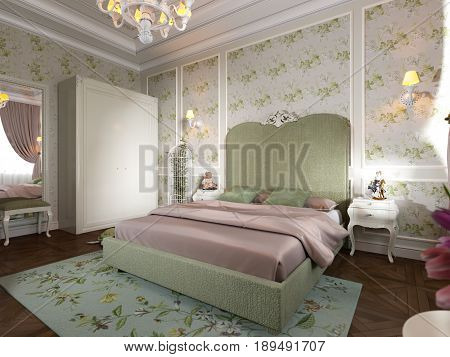 Tender and bright luxury children's room with light green color large bed white elegant classic furniture wardrobe. Classic Interior design concept. 3d render