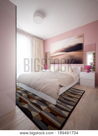 Urban Contemporary Modern Scandinavian Bedroom Interior Design. 3d rendering