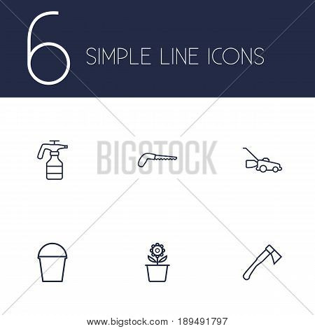 Set Of 6 Household Outline Icons Set.Collection Of Arm-Cutter, Pail, Plant Pot And Other Elements.