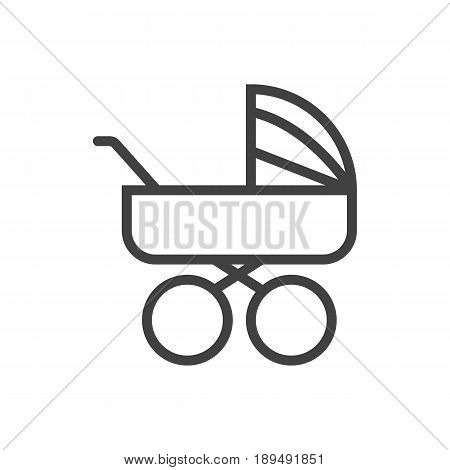 Isolted Pram Outline Symbol On Clean Background. Vector Carriage Element In Trendy Style.