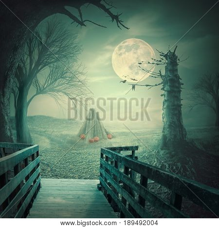 Mystical autumn forest with dead trees old wooden bridge pumpkins bats and roots at teal full moon night. Halloween scary background concept.