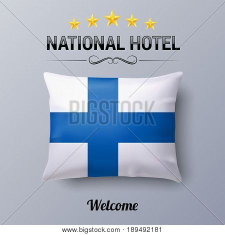 Realistic Pillow and Flag of Finland as Symbol National Hotel. Flag Pillow Cover with Finland flag