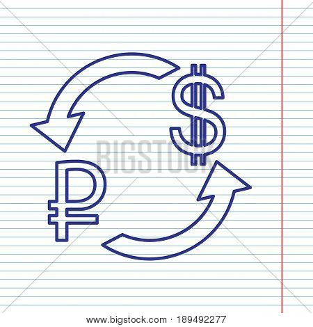Currency exchange sign. Ruble and US Dollar. Vector. Navy line icon on notebook paper as background with red line for field.