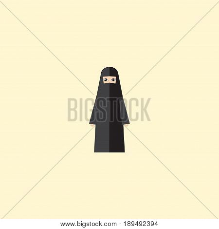 Flat Arabian Element. Vector Illustration Of Flat Muslim Woman Isolated On Clean Background. Can Be Used As Arabian, Muslim And Woman Symbols.