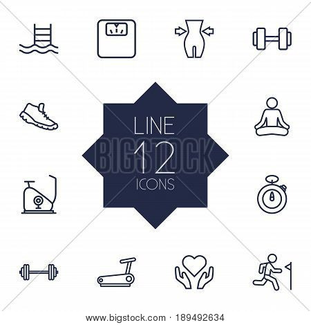 Set Of 12 Fitness Outline Icons Set.Collection Of Training, Barbell, Weight Loss And Other Elements.