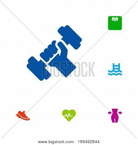 Set Of 6 Fitness Icons Set.Collection Of Slimming, Basin, Sneakers And Other Elements.