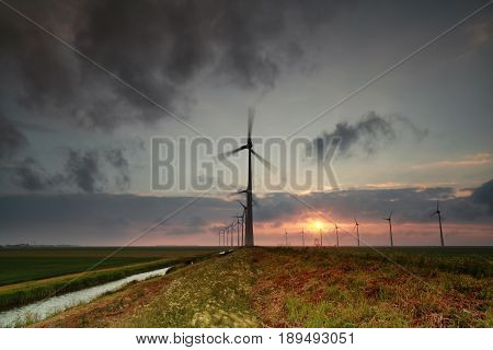 windmill turbines at sunset in the Netherlands