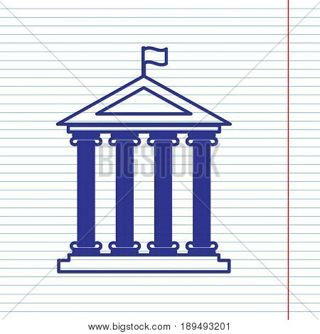 Historical building with flag. Vector. Navy line icon on notebook paper as background with red line for field.