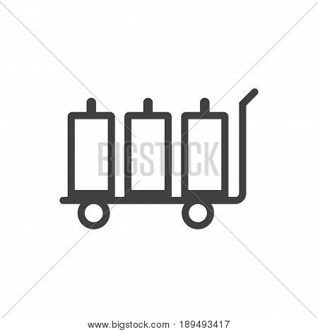 Isolted Baggage Cart Outline Symbol On Clean Background. Vector Luggage Trolley Element In Trendy Style.