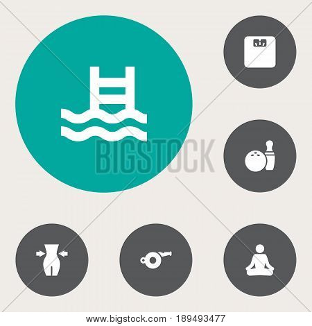 Set Of 6 Bodybuilding Icons Set.Collection Of Blower, Kegling, Body Balance And Other Elements.