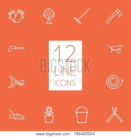 Set Of 12 Horticulture Outline Icons Set.Collection Of Secateurs, Safer Of Hand , Arm-Cutter Elements.