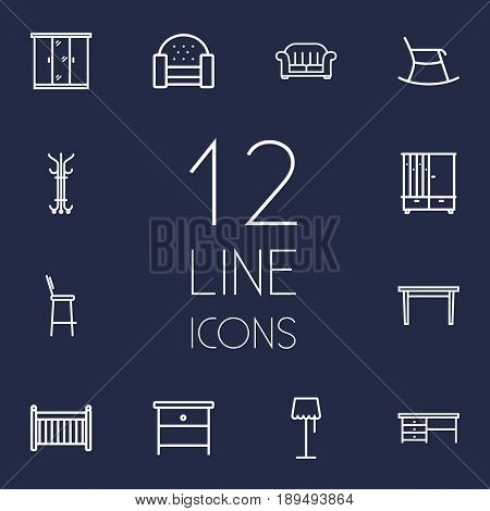 Set Of 12 Decor Outline Icons Set.Collection Of Sofa, Crib, Table And Other Elements.