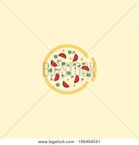 Flat Pizza Element. Vector Illustration Of Flat Pepperoni Isolated On Clean Background. Can Be Used As Pizza, Pizzeria And Pepperoni Symbols.