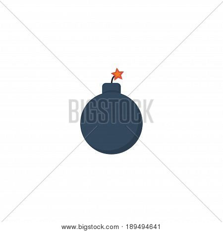 Flat Bomb Element. Vector Illustration Of Flat Explosive Isolated On Clean Background. Can Be Used As Explosive, Bomb And Dynamite Symbols.