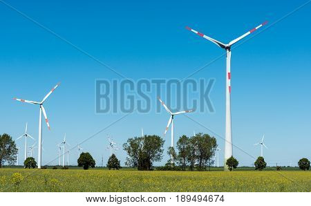 Windwheels in the fields in rural Germany