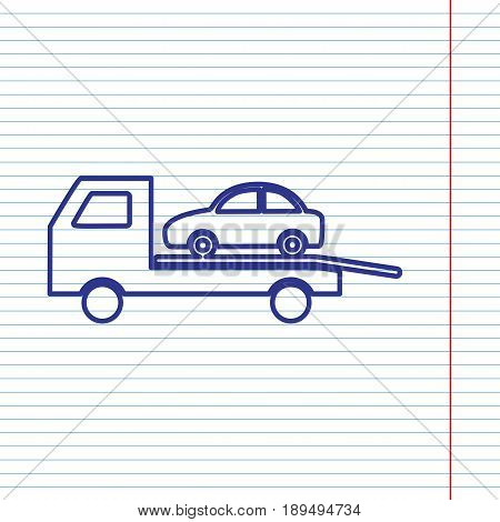 Tow car evacuation sign. Vector. Navy line icon on notebook paper as background with red line for field.