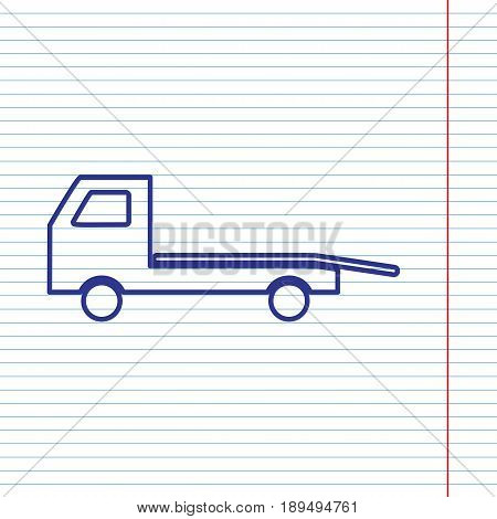 Service of evacuation sign. Wrecking car side. Car evacuator. Vehicle towing. Vector. Navy line icon on notebook paper as background with red line for field.