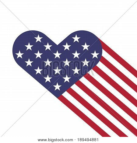 USA flag hearts shape vector illustration for Independence Day, Memorial Day or others