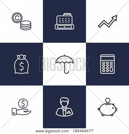 Set Of 9 Budget Outline Icons Set.Collection Of Money Box, Moneybag, Savings And Other Elements.