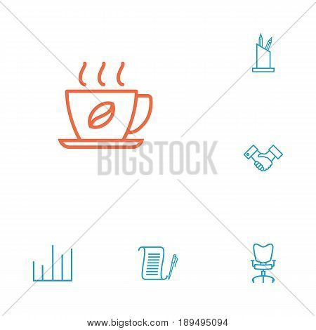 Set Of 6 Bureau Outline Icons Set.Collection Of Chart, Hot Drink, Pen Storage And Other Elements.
