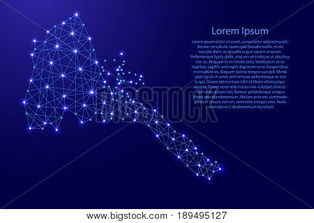 Map of Eritrea from polygonal blue lines and glowing stars vector illustration