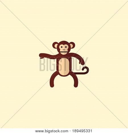 Flat Monkey Element. Vector Illustration Of Flat Chimpanzee Isolated On Clean Background. Can Be Used As Chimpanzee, Monkey And Gorilla Symbols.
