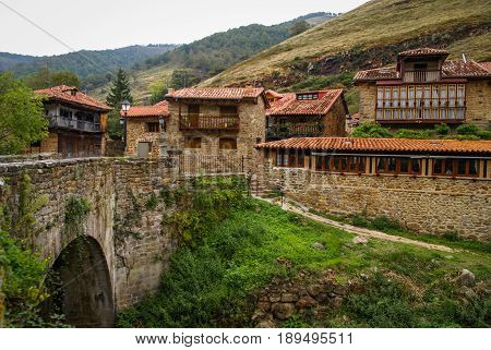 Beautiful Village Barcena Maior In Asturia Y Cantabria, Spain