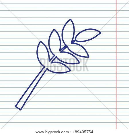 Tree branch sign. Vector. Navy line icon on notebook paper as background with red line for field.