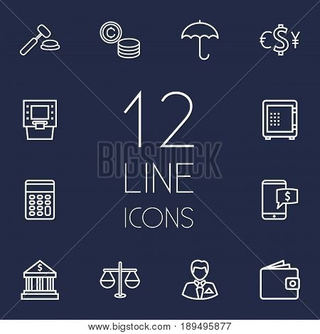Set Of 12 Budget Outline Icons Set.Collection Of Wallet, Atm, Auction And Other Elements.