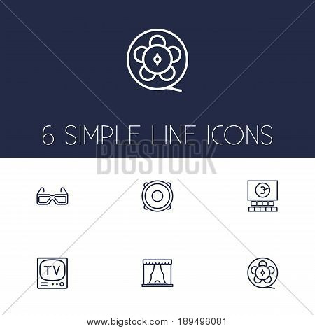 Set Of 6 Amusement Outline Icons Set.Collection Of 3D Glasses, Cinema, Film Role And Other Elements.