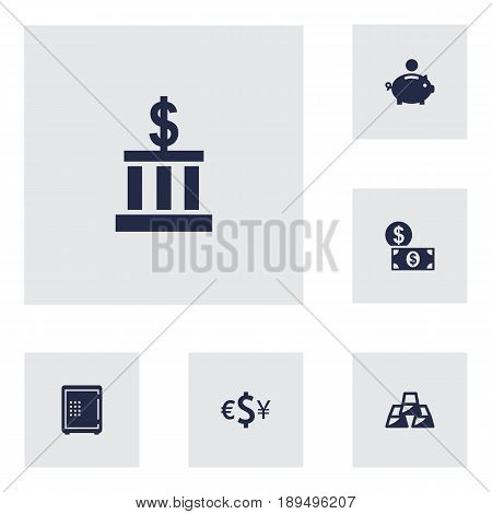 Set Of 6 Budget Icons Set.Collection Of Piggy Bank, Currency, Strongbox And Other Elements.