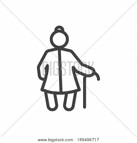 Isolted Grandma Outline Symbol On Clean Background. Vector Grangmother Element In Trendy Style.