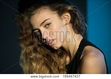 Woman With Natural Blond, Long, Wavy, Healthy Hair