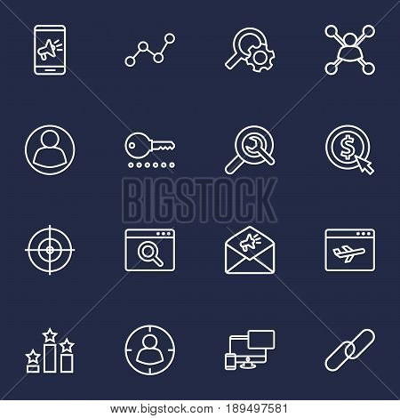 Set Of 16 Search Outline Icons Set.Collection Of Advertising, Scan, Targeting And Other Elements.