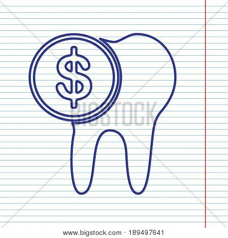The cost of tooth treatment sign. Vector. Navy line icon on notebook paper as background with red line for field.