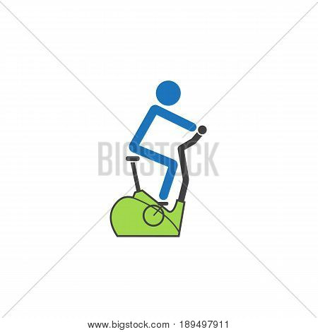 Stationary bicycle solid icon, Exercise Bike and fitness sport, vector graphics, a colorful linear pattern on a white background, eps 10.