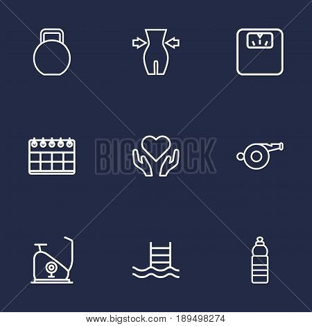 Set Of 9 Training Outline Icons Set.Collection Of Weight Loss, Calendar, Health Care And Other Elements.