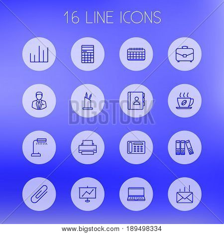 Set Of 16 Bureau Outline Icons Set.Collection Of Printing Machine, Pen Storage, Date And Other Elements.