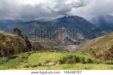 View of the sacred Valley and Urubamba in Peru