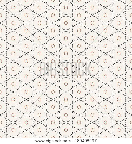 Seamless pattern. Geometrical modern linear texture. Regularly repeating classical tiles with circles hexagons triangles. Vector element of graphical design