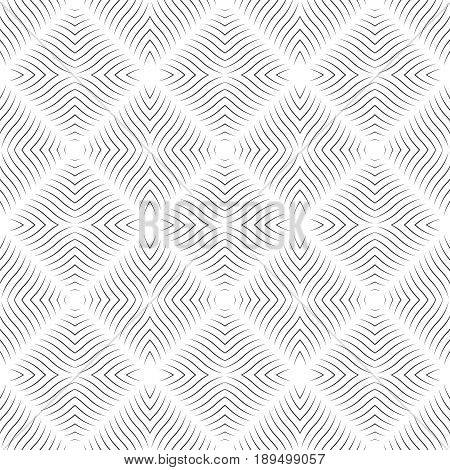 Seamless pattern. Modern stylish geometric texture. Repeating rhombuses with waved thin lines Vector contemporary design