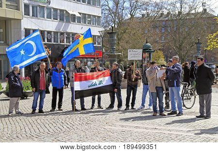 Demonstrants On One Of Central Squares In Malme, Sweden