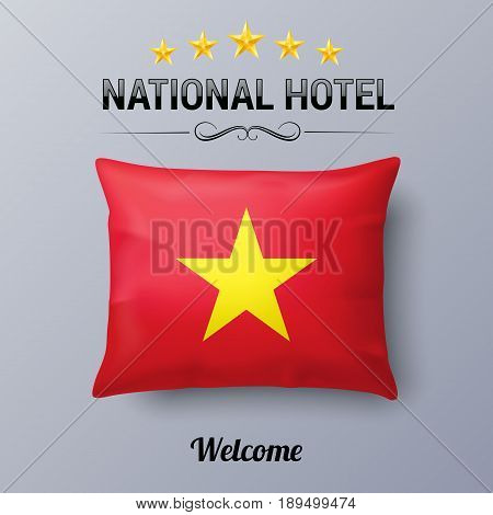 Realistic Pillow and Flag of Vietnam as Symbol National Hotel. Flag Pillow Cover with Vietnam flag