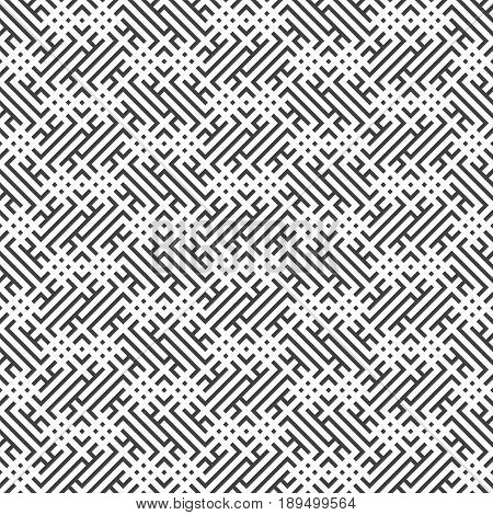 Vector seamless pattern. Modern stylish texture with regularly repetition geometrical shapes: small rhombuses corner strips. Chaotic random cover surface. Memphis style.