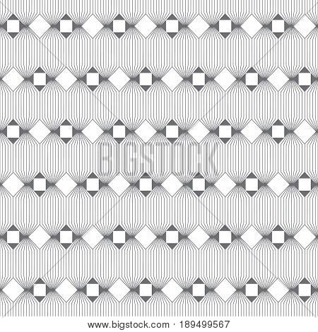Vector seamless pattern. Infinitely repeating modern geometrical texture consisting of thin lines which form hexagonal linear grid with striped hexagons rhombuses squares triangles.