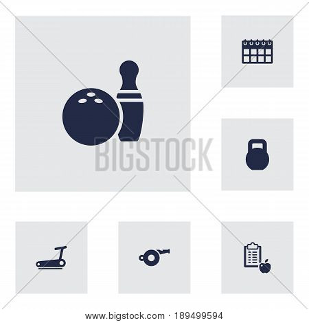 Set Of 6 Fitness Icons Set.Collection Of Weights, Treadmill, Kegling And Other Elements.