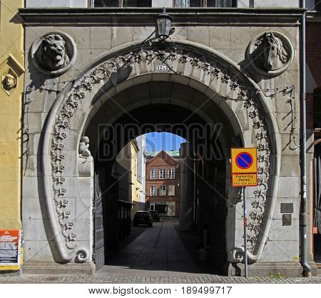 Interesting Arch Passage In Old Town Of Malmo, Sweden