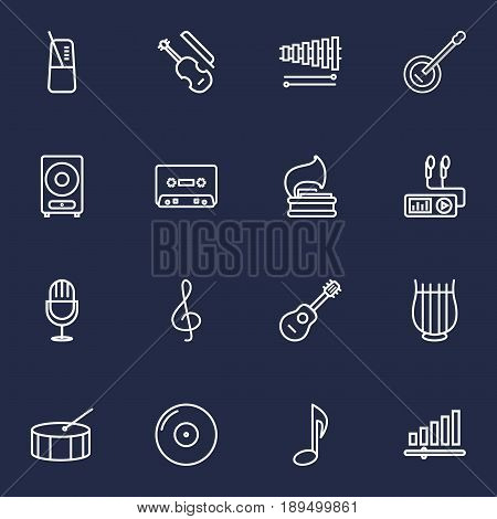 Set Of 16 Music Outline Icons Set.Collection Of Guitar, Musical Sign, Note And Other Elements.