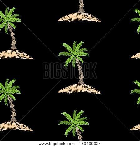 Seamless pattern with embroidery stitches imitation palm tree. Exotic palm tree embroidery pattern vector background for printing on fabric paper for scrapbook gift wrap.